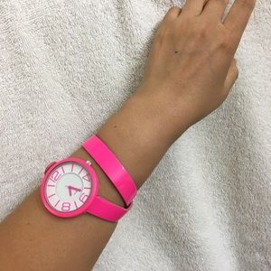 Fun time!! Double strap pink watch